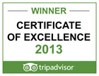 Trip Advisor Certificate of Excellence Winner - 2013